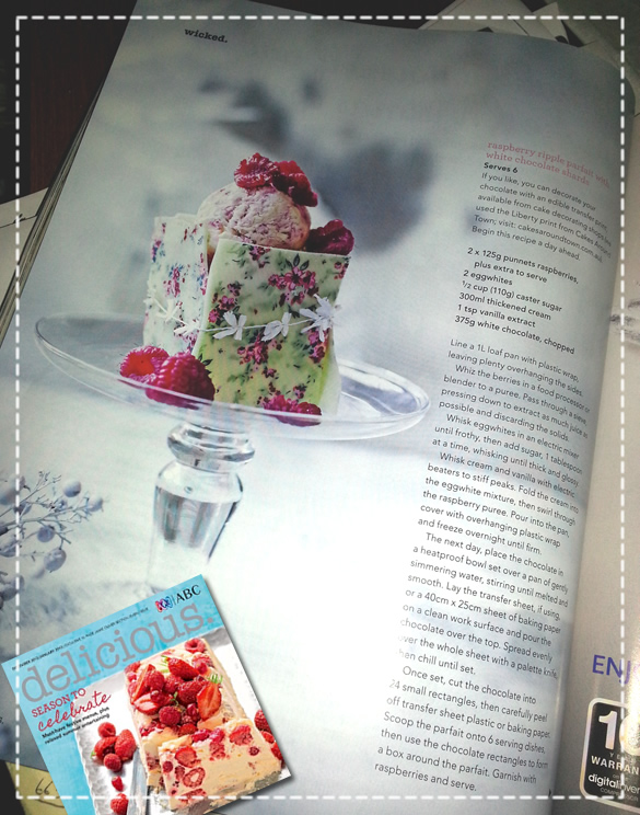 Delicious Magazines Spread on Liberty Print Choc Transfer Sheet
