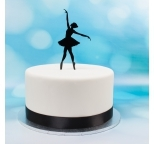 Acrylic Cake Topper (Black)  - Ballet Dancer