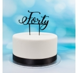 Acrylic Cake Topper (Black)  - Forty