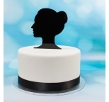 Acrylic Cake Topper (Black)  - Grace Side Silhouette - DISCONTINUED