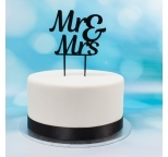 Acrylic Cake Topper (Black)  - Mr & Mrs