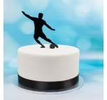 Acrylic Cake Topper (Black)  - Soccer Player