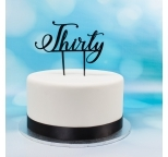 Acrylic Cake Topper (Black)  - Thirty