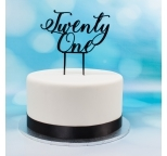 Acrylic Cake Topper (Black)  - Twenty One