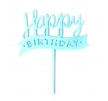 Acrylic Cake Topper (Blue)  - Happy Birthday