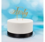 Acrylic Cake Topper (Gold)  - Forty