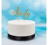 Acrylic Cake Topper (Gold)  - Thirty
