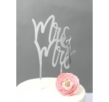 SILVER  Mirror Cake Topper  - Mr & Mrs