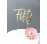 GOLD Mirror Cake Topper  - Fifty