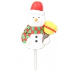 Snowman with Broom Claydough Cake Topper