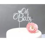 SILVER Mirror Cake Topper  - Oh Baby