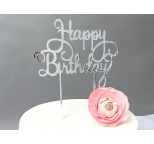 SILVER  Mirror Cake Topper  - Happy Birthday