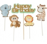 Jungle Animals Happy Birthday Cake Topper (5piece)