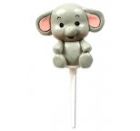 Claydough Cake Topper Cute Grey Elephant
