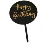 Black Circle Cake Topper  - Happy Birthday