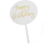 White Circle Cake Topper  - Happy Birthday
