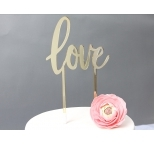 GOLD Mirror Cake Topper  - LOVE