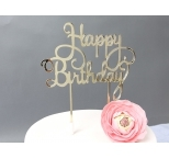 GOLD  Mirror Cake Topper  - Happy Birthday