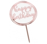 Acrylic Cake Topper Pink Mirror- Happy Birthday (Circle)