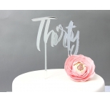 SILVER Mirror Cake Topper  - Thirty