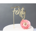 GOLD Mirror Cake Topper  - Forty