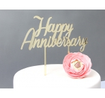 GOLD  Mirror Cake Topper  - Happy Anniversary