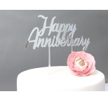 SILVER  Mirror Cake Topper  - Happy Anniversary