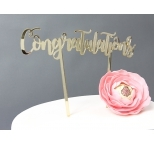 GOLD  Mirror Cake Topper  - Congratulations