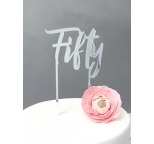 SILVER  Mirror Cake Topper  - Fifty