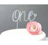 SILVER Mirror Cake Topper  - ONE