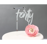 SILVER Mirror Cake Topper  - Forty