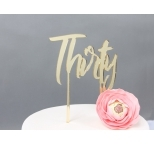 GOLD Mirror Cake Topper  - Thirty