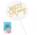 Transparent Circle with Gold Mirrored Topper  - Happy Birthday