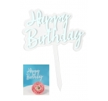 Transparent with Blue Happy Birthday Cake Topper