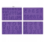 Large Upper, Lower Case & Numbers Silicone Mould Set of 4 (Purple)