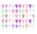 Mini Edible Wafer Cake Bunting 30 Flags - 2 Sheets