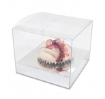 STANDARD Cupcake Box - SINGLE CLEAR PVC with SILVER  insert PACK OF 10