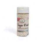 SUGAR PEARLS 3 - 4mm - Pearlised White - 102.1g Bottle