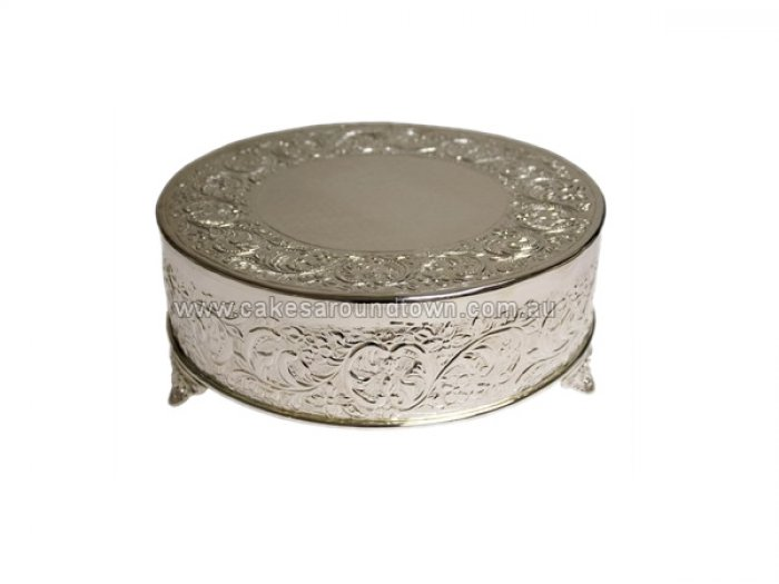 HIRE Silver Plated Embossed Cake Stand 14 ROUND