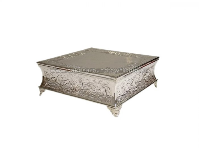 HIRE - Silver Plated Embossed Cake Stand 18 SQUARE