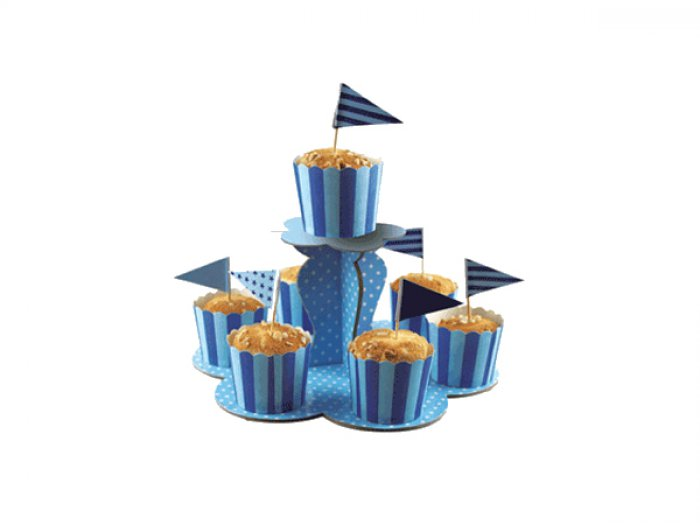 2 Tier Paper Cupcake Stand - Baby Blue - DISCONTINUED