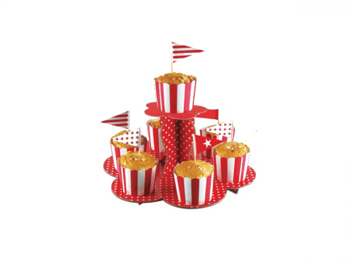 2 Tier Paper Cupcake Stand - Red - DISCONTINUED