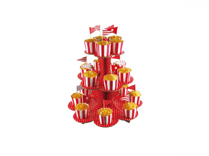 3 Tier Paper Cupcake Stand - Red - DISCONTINUED