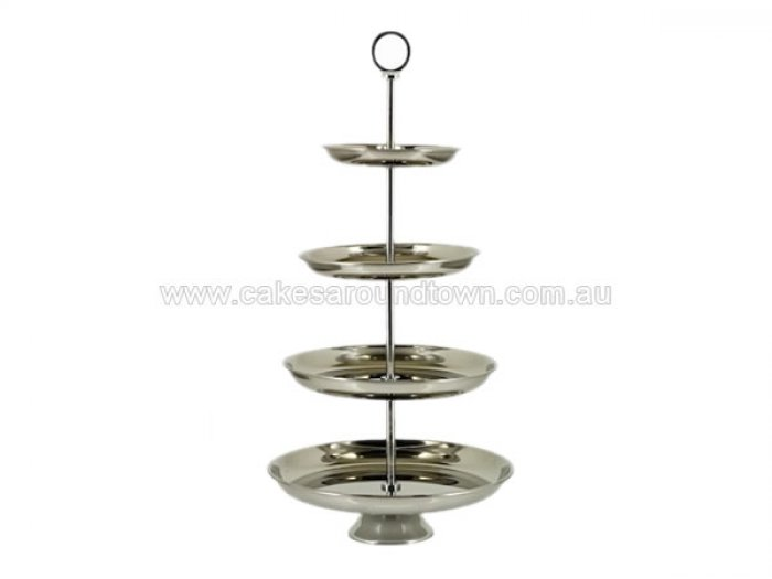 HIRE - 4 Tier Cupcake Stand Silver