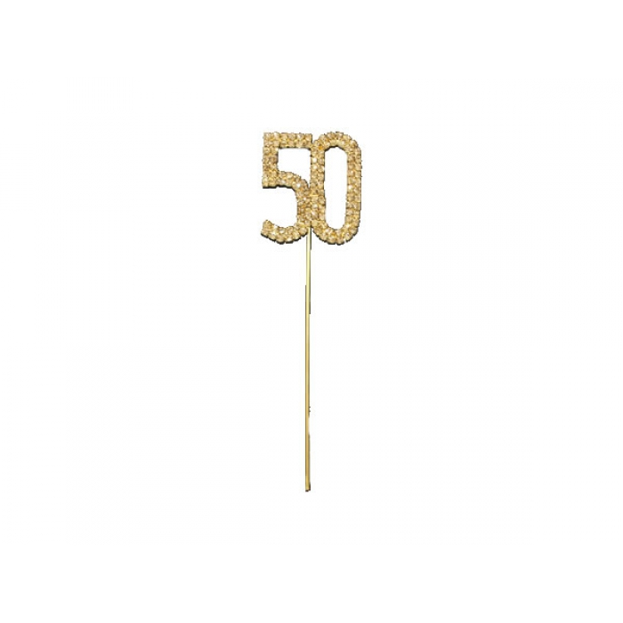 50th GOLD Diamante Diamond Cake Pin