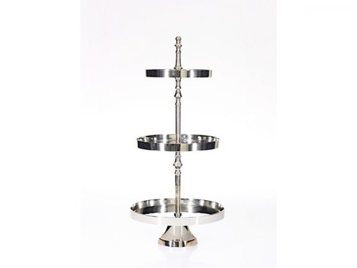 HIRE - 3 Tier Silver Aluminium Cupcake Stand 35d x 72cmh