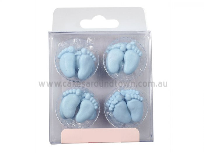 Baby feet blue sugar decorations 12 for Baby feet decoration