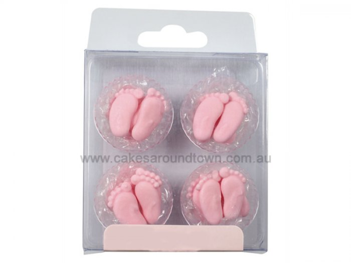 Baby feet pink sugar decorations 12 for Baby feet decoration