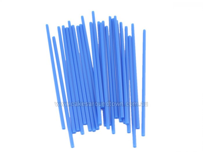 Plastic Lollipop BLUE Sticks 6 inch (15cm)(25 Pack) - DISCONTINUED