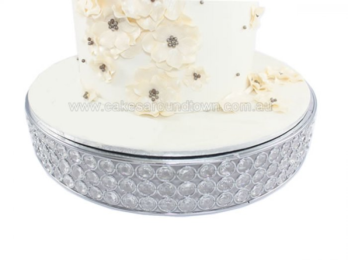 HIRE - Crystal Round Cake Stand 39.5cm (15.55in)